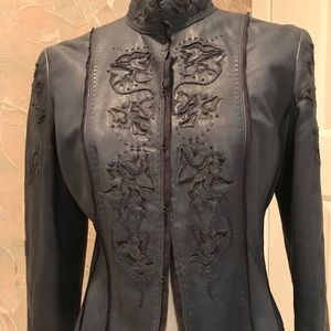 Elie Tahari lamb leather blue/grey jacket